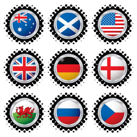 Collection of the most used flag in the world with halftone dot Vector