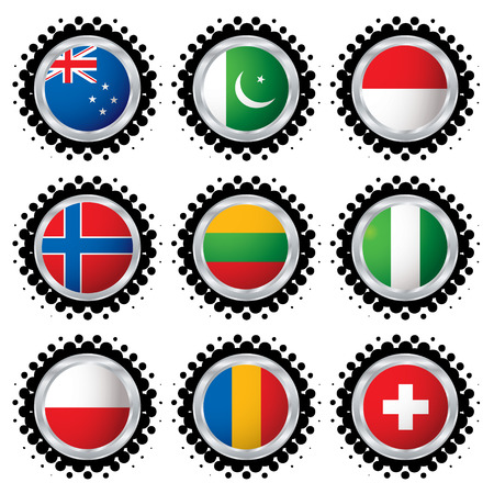 Collection of national flag with a halftone border Vector