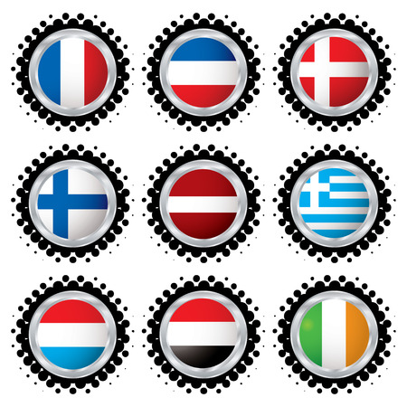 Halftone flag buttons with flags from around the world Vector