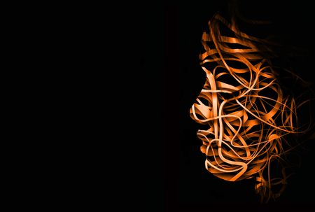 abstract face with a tangle of lines making up the outline Stock Photo - 3641303