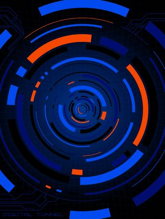 perspective grid: Abstract illustration of a digital tunnel ideal as a background