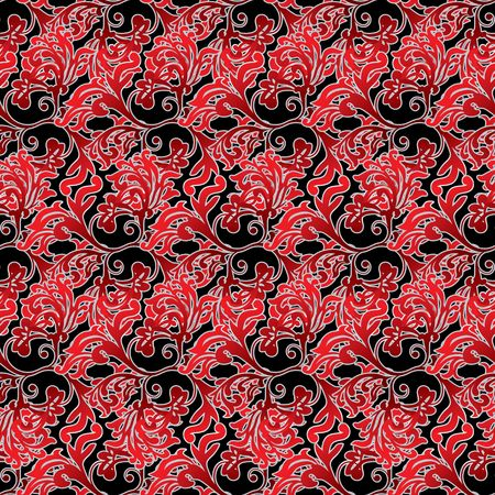 floral inspired red and black background that seamlessly repeats Stock Photo - 3641297