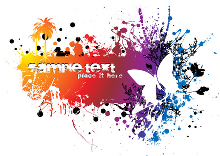 colourful abstract background with ink splat and room for copy Vector