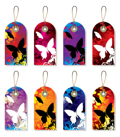 collection of nature tags with ink splats in silhouette Vector