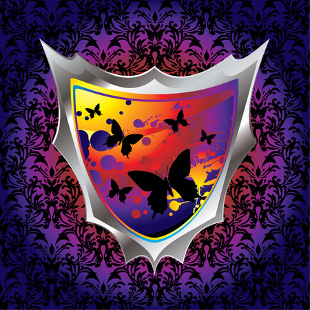 brightly coloured shield with butterfly and ink splats Stock Vector - 3644550