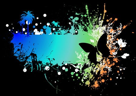 rainbow ink splat background with a butterfly and copyspace