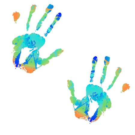 brightly coloured hand print with ink splats illustrations Stock Photo - 3660719