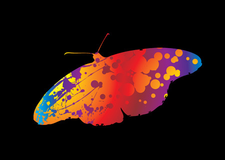 silhouette of a butterfly with ink splats in bright colours Stock Vector - 3670725