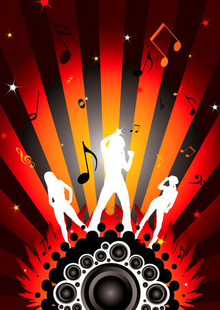 modern dancing image with three sexy women silhouettes Stock Vector - 3670726
