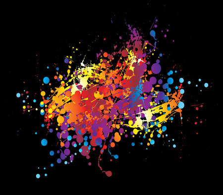 paint chucked on a black background in bright colours Stock Vector - 3670728