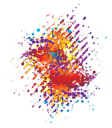 Abstract background in bright colours with ink splats Stock Vector - 3670729