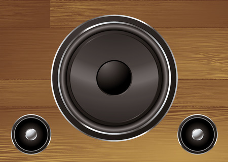 tweeter: speaker collection on a wood grain illustrated background Illustration