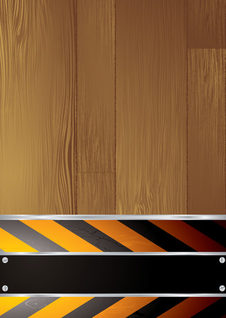 Warning background with copyspace and wood grain effect Vector