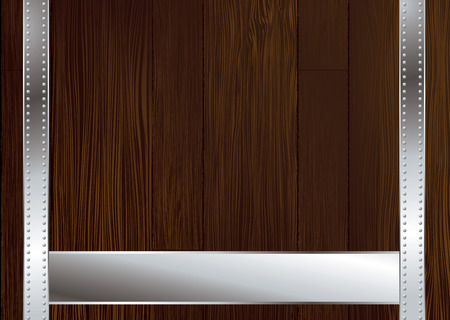 Wooden background illustrated with metal strapping and copy space Vector