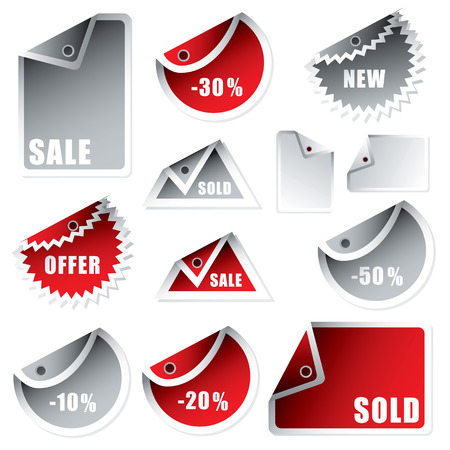 representatives: collection of shop tags with discount and sale text