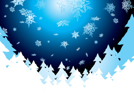Christmas background showing snow fall in the evening sky Vector