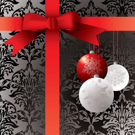 Wrapped present with baulbels and a wallpaper patern Vector
