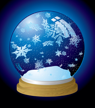 Illustrated snow globe with a wooden base and outer glow