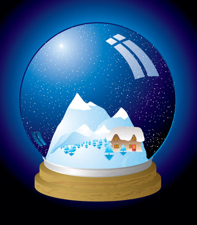Christmas themed snow globe with a chocolate box cottage Vector