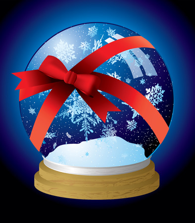snow drift: Illustrated snow globe with a red ribbon present wrapped Illustration