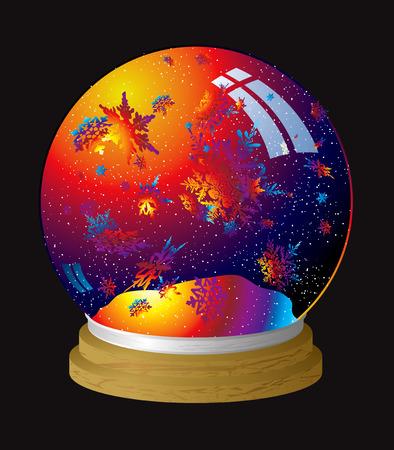 snowglobe: Multi coloured snow globe with flakes of rainbow dust