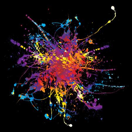 Multi coloured rainbow ink splat background in black Stock Vector - 3771180