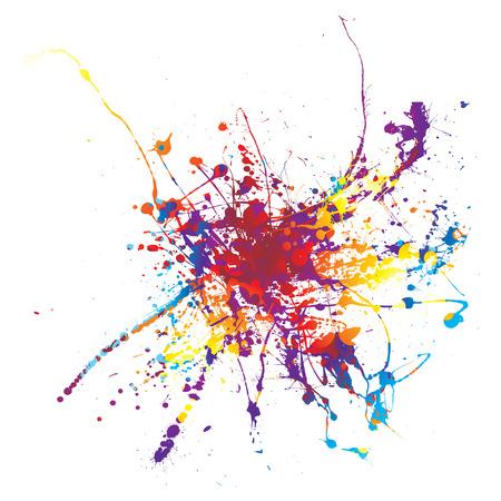 Rainbow ink splat on a white background multi coloured Illustration
