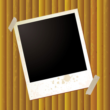 Grunge effect polaroid on a golden rippled background Vector
