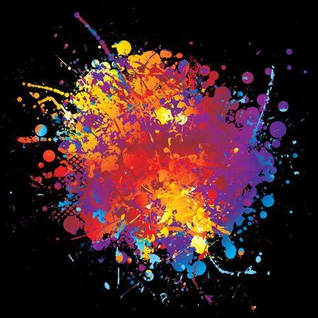 Round rainbow ink splat with halftone dot and black background Stock Photo