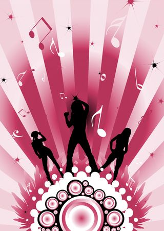 modern dancing image with three sexy women silhouettes Stock Photo