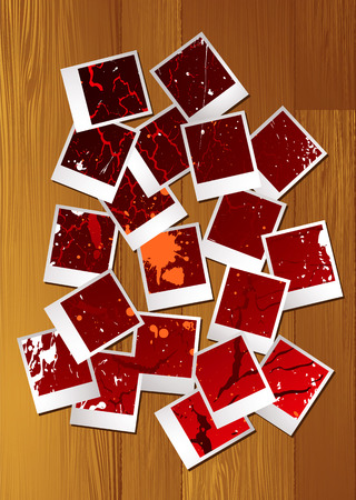 clutter: Abstract collection of polaroid images with ink splats