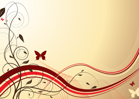 Floral inspired background in maroon and creame with butterfly Vector