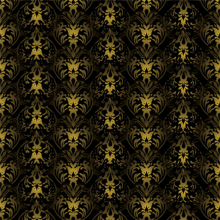 Black and gold gothic repeating background with seamless join Vector
