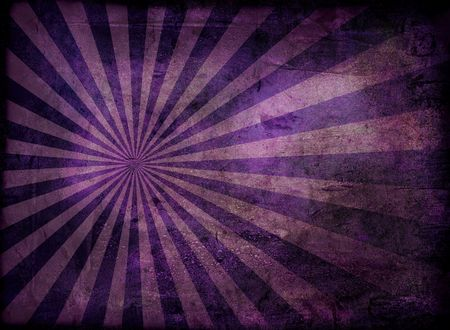 Radiating grunge background in purple and with a weathered effect
