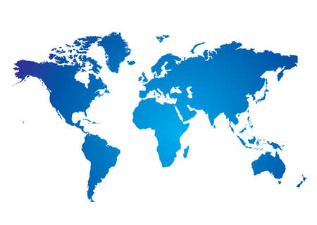 Blue and white Illustrated world map with white background Illustration