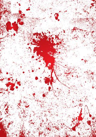 gory: Blood splatter su uno sfondo bianco della parete con effetto gory
