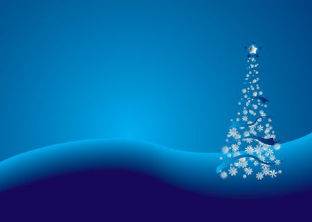 Modern view of a tradional christmas tree in blue and silver
