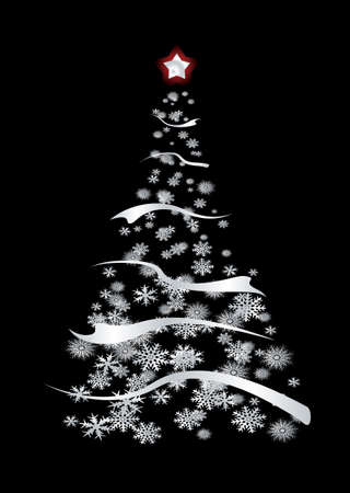 Modern inspired silver christmas tree with snow flakes and ribbon Stock Photo - 3830137