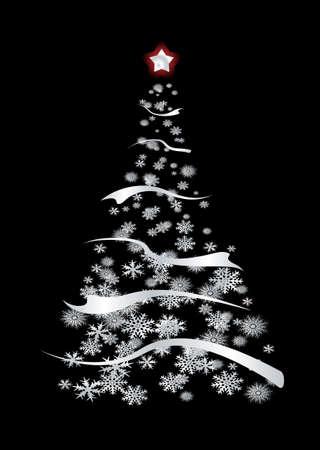 noel argent�: Moderne inspir� d'argent arbre de No�l avec des flocons de neige et le ruban