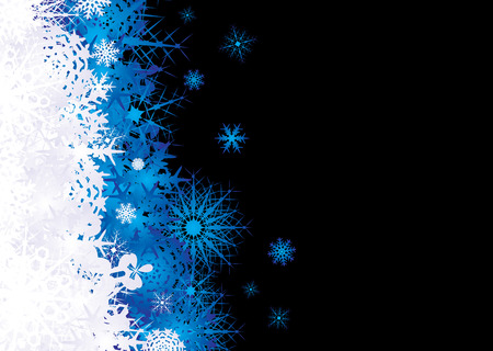 Christmas snow flake inspired background in blaue and black Illustration