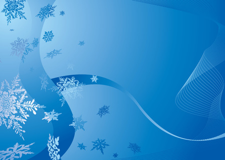 christmas snow: Modern blue christmas background with falling snow flakes Illustration
