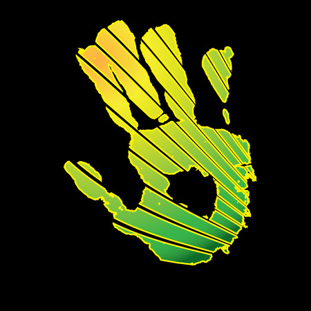 Modern abstract look at a human hand in green and yellow Stock Vector - 3856630