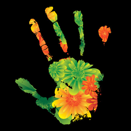 Floral inspired unique hand print design on black background Stock Vector - 3856633