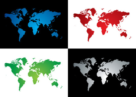 Four colourful map variations two on a black background Stock Vector - 3856638