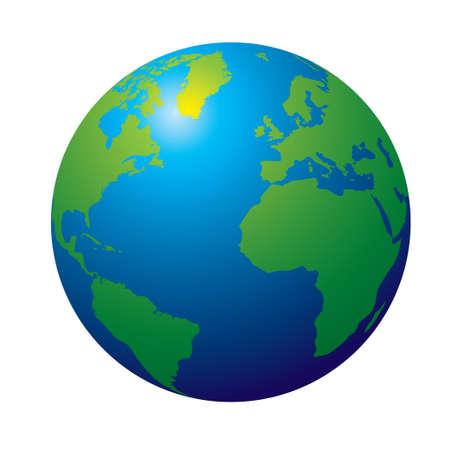 weltkugel asien: 3D-Ansicht der Erde in traditionellen Farben gr�n und blau