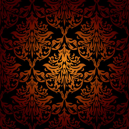 Red orange and black seamless repeating wallpaper design Vector