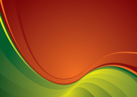 Contrasting red and green colours in the wavy abstract background Stock Vector - 3867151