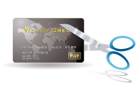 pair of scissors: Pair of scissors cutting a credit card in half Illustration