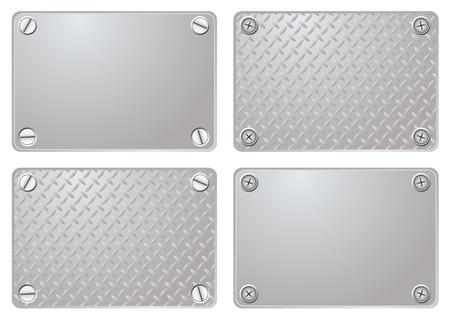brushed aluminum: Cuatro variaciones de una placa de metal con tornillos de diferentes