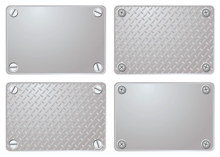 durable: Four variations of a metal plate with different screws